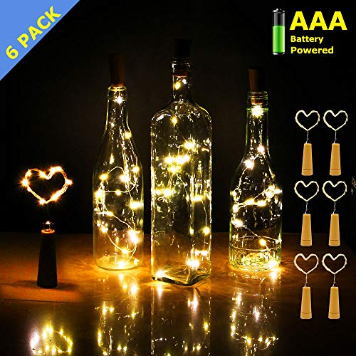 iMazer Wine Bottle Cork Lights, AAA Battery Operated Micro Artificial Copper Wire Starry Fairy String Lights for Christmas, Party, Wedding, Wine Bottle Decorations 6Pack (Battery Powered Warm White) ()