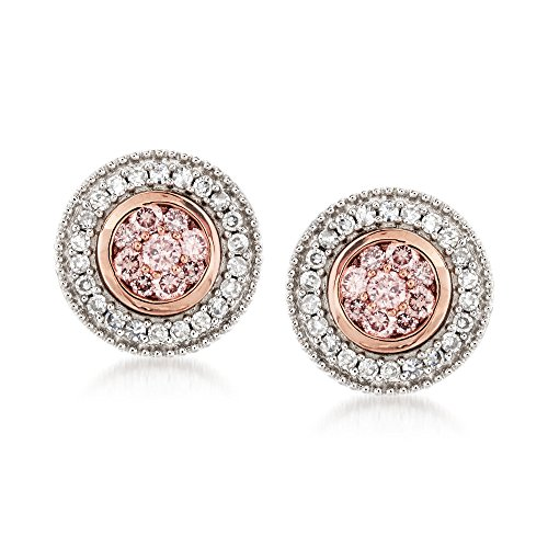 Ross-Simons .33 ct. t.w. Pink and White Diamond Earrings in 14kt Two-Tone Gold (2 Earrings Tone Diamond 14kt)
