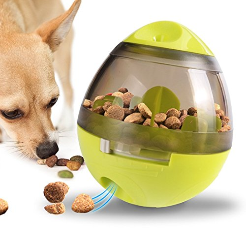 Dog Treat Ball, Interactive Food Dispensing Ball for Dogs and Cats Increases IQ & Mental Stimulation, Pet Bite Toys with Tumbler Design and Easy to Clean(Green)