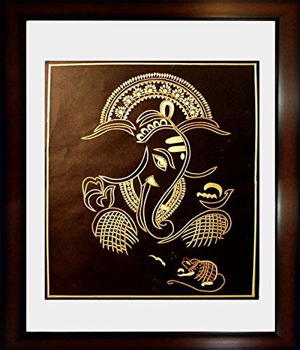 Ganesha Wall Frame (Home and Office Wall Décor Hanging Painting Of Lord Ganesha Ganpati with Spiritual Feel - Handmade Sikki Art Work Wall Hanging Painting With Frame Size- 18x14 Inches with imported Italian moulding)