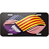 Friendship Flags USA and Mallorca region Spain Metal License Plate 6X12 Inch