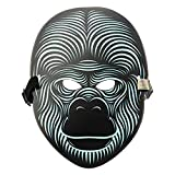 Hoshell Party Version Sound Reactive LED Mask Dance Rave Light Up Adjustable Mask for Party Halloween Dance Face Mask Cosplay DJ Mask (C)