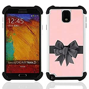 GIFT CHOICE / Defensor Cubierta de protección completa Flexible TPU Silicona + Duro PC Estuche protector Cáscara Funda Caso / Combo Case for Samsung Galaxy Note 3 III N9000 N9002 N9005 // bow satin silk gift pink grey wrapper //