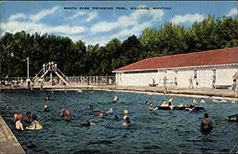 south park swimming pool billings montana original vintage postcard entertainment