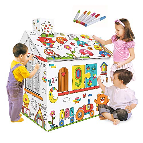 Decdeal DIY Large Cardboard Coloring Creative Crafts Play House, 2.2 Feet Tall Project Assemble and Paint Educational Toys, for Kids