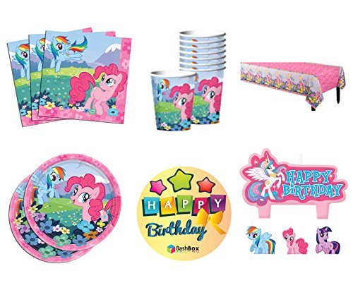 BashBox Deluxe My Little Pony Birthday Party Supplies Pack Including Plates, Cups, Napkins, Table Cover, and Candles for 8 Guests