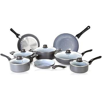 SIMPLE & Co Juego de Utensilios de Cocina Antiadherente de 13 Piezas con Base de inducción y ollas y sartenes ...