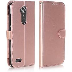 ZTE ZMAX Pro Case, ZTE ZMAX Pro Wallet Case, ZTE Carry Z981 Case, Alkax Phone Case Kickstand With Card Slots Holder Shockproof Slim Protection Flip Cover For ZTE ZMAX Pro Z981 + Stylus (Rose Gold)