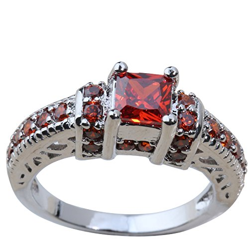 YOU CHUANG Stylish Red Garnet Cubic Zirconia 925 Sterling Silver Women Ring US# Size 5 6 7 8 9 K0007