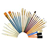 Artina 30 Piece Art Brush & Palette Knives Set Various Brush Types & Sizes Ideal for Acrylic Watercolor & Oil Painting