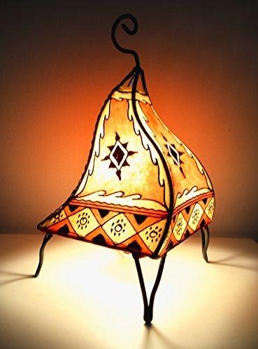 Lampara de mesa marroquí de henna- Cuadrada color naranja 38 cm ...