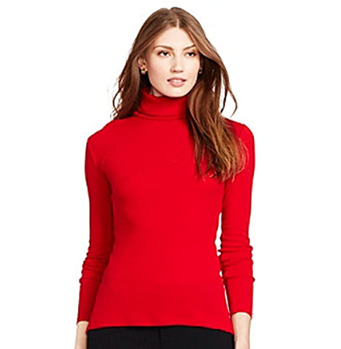 efc0c563970f Lauren Ralph Lauren LRL Women s Ribbed Slim Turtleneck Sweater (Medium) Red