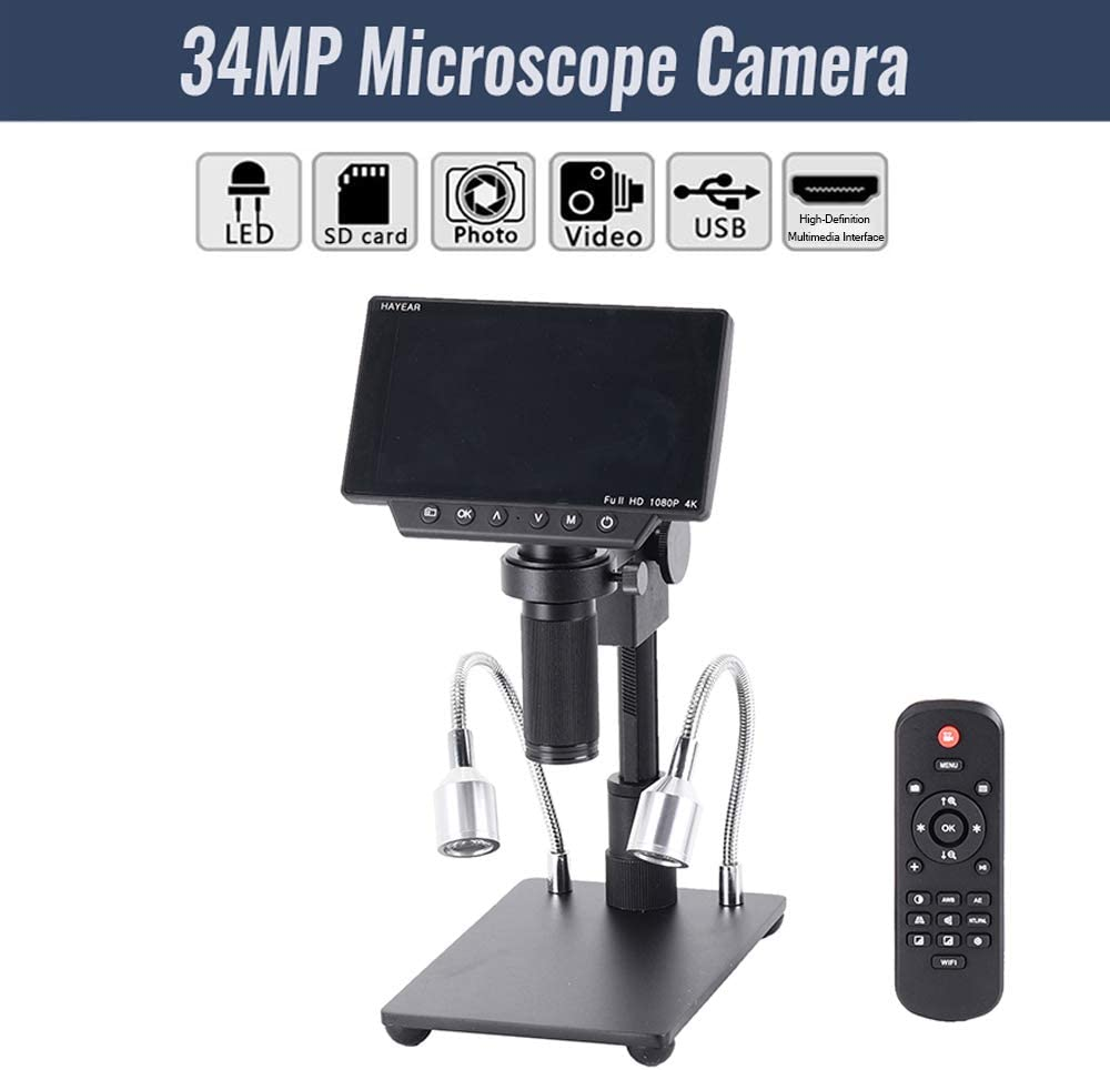 Leepesx HY-1080 5 Inch Screen 34MP 4K Soldering Microscopes Camera Industrial Maintenance Digital Display Electronic Microscope Magnifier 150X C-mount Lens