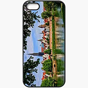 Protective Case Back Cover For iPhone 5 5S Case Germany Bavaria Neu Ulm River Trees Black