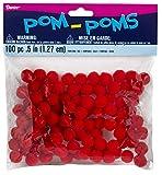 Darice 10174-30 Pom Poms .5'' 100/Pkg-Red