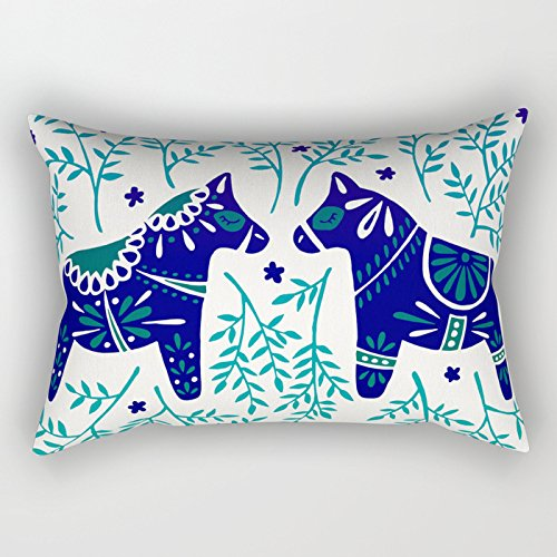 UOOPOO Swedish Dala Horses ¨C Navy & Blue Palette Cotton Canvas Pillow Case 12 x 20 Inches Square Happy New Year Cushion Cover for Sofa Print One Side