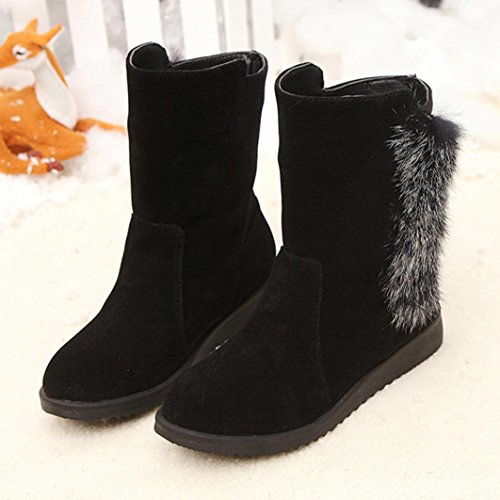 Black Faux Ladies Snow Boots Martin Boots Women Winter Flat Fur Shoes Transer® Ankle 7qxd57