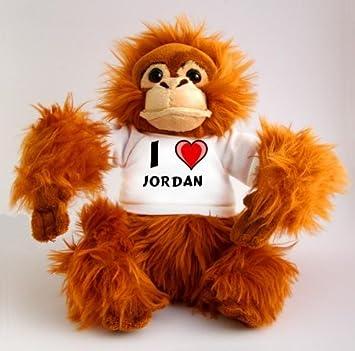 Orangután de peluche (juguete) con Amo Jordan en la camiseta