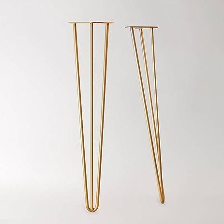 28u0026quot; Hairpin Legs (Raw Steel In Brass Tone) ▫ Mid Century Modern ▫