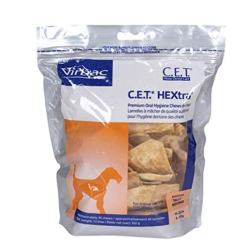 Virbac C.E.T. HEXtra Premium Oral Hygiene Chews, Medium Dog, 30 Count