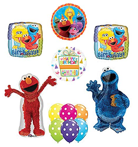 - Elmo and Cookie Monster birthday Party Supplies and Balloon Bouquet Decorations