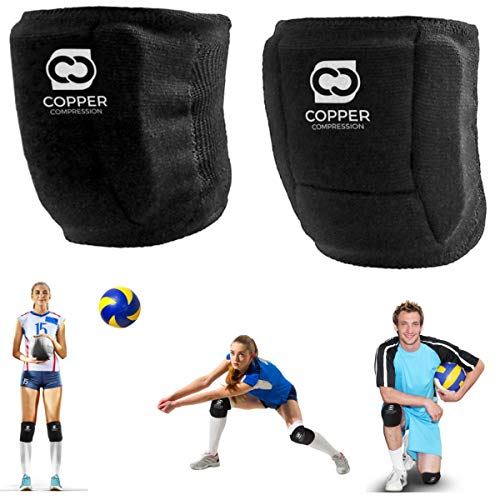 Copper Compression Volleyball Knee Pads. Guaranteed Highest Copper Knee Protector Fit for Women, Men, Girls, Boys. Can Also be Used for Other Sports, Wrestling, MTB, as a Work Support Pad, Kneepads