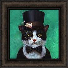 Tuxedo Cat by Lucia Heffernan 16x16 Black White Cat Bow Tie Top Hat Eye Glass Mouse Funny Art Framed Print Picture