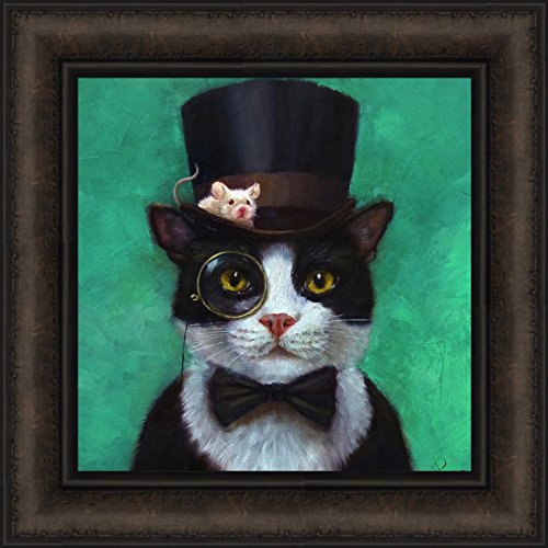 (Tuxedo Cat by Lucia Heffernan 16x16 Black White Cat Bow Tie Top Hat Eye Glass Mouse Funny Art Framed Print Picture)