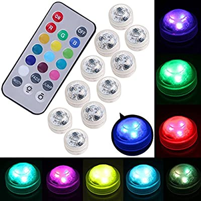 2Pcs Colorful Remote Control RGB Submersible Waterproof LED Lights for Fish Tank Party Decoration