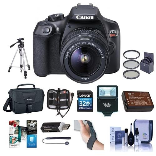 Canon EOS Rebel T6 DSLR Digital Camera with EF-S 18-55mm f/3.5-5.6 IS II Lens, Lexar SD 32GB MemoryCard, 58mm UV Filter Kit, Tripod, Creative Suite Software, Deluxe Accessory Kit