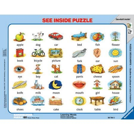 Ravensburger Word Puzzle - Learning Words See Inside Puzzle