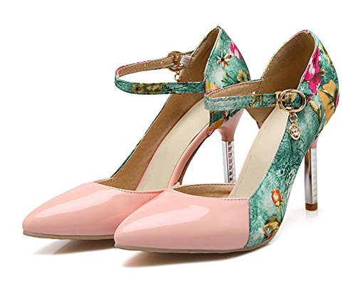 Womens Floral Dorsay Heels Pink Ankle High Toe Elegant Pointed Aisun Shoes Pumps Stiletto Dress Strap qC8Sdqw