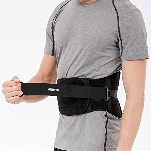 Bracoo 8-Spring Back Brace, Breathable All-Day Adjustable Lumbar Support,Black,Large/XLarge