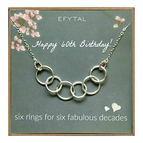 EFYTAL Happy 60th Birthday Gifts for Women Necklace, Sterling Silver 6 Rings six Decades Necklaces Gift Ideas ()