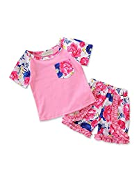 MISOWN 2Pcs Outfits Clothes Kids Baby Girl Floral T-Shirt Tops + Shorts Pants