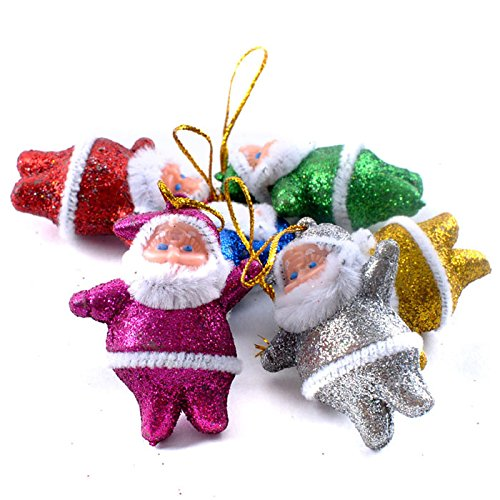 Xmas Santa Gift,Han Shi 6PC Colorful Christmas Ornaments Tree Hanging Decoration Doll (S, Colorful)