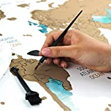 Scratch off World Map Wall Poster with U.S States - Extra Large 24x32 inches - Travel Gift Map White Edition with Gold Foil & vibrant Watercolors - Includes accessory bag, scratcher tools, and brush