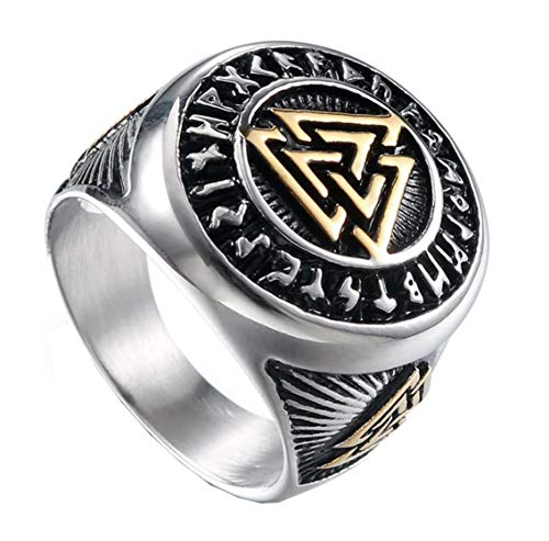 (HIJONES Men's Stainless Steel Valknut Norse Viking Odin Symbol Ring Warrior Signet Biker Band Silver Size 9)