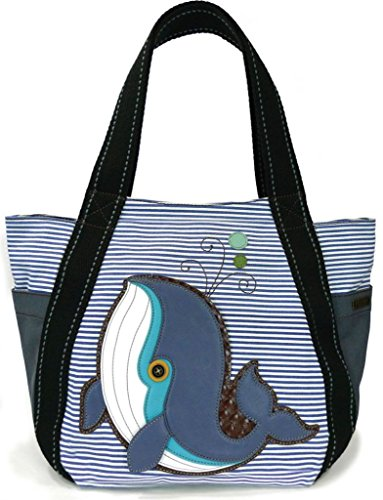 Pug Mini Button - Chala Carryall Zip Tote, Canvas Handbag, Top Zipper, Animal Prints (Whale-Blue White)