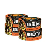 Gorilla 6001203-4 Duct Tape, 1.88'' x 12 yd, Black, (Pack of 4), 4 - Pack 4 Piece