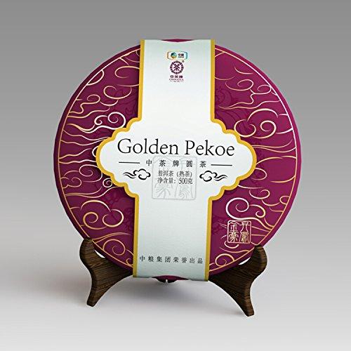 ''Golden Pekoe'' 2015 Zhongcha Big tree Ripe Pu-erh Chinese Yunnan Puer Tea 500g Cake by Zhongcha---Wisdom China Pu-erh Tea