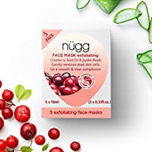 nügg Exfoliating and Skin Brightening Face Mask; 93 Percent Natural and Microbead-Free; Pack of 5 Face Masks; 5 x 0.33 fl.oz.