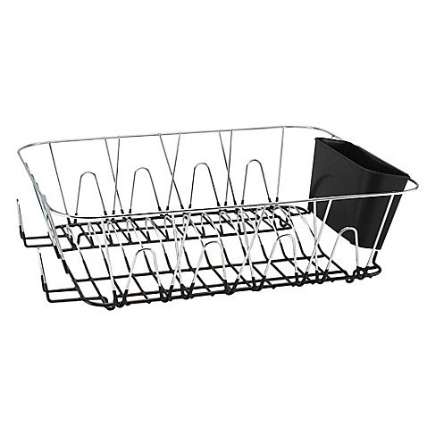 Large Dish Rack in Chrome -  Coated Bottom To Protect Counte