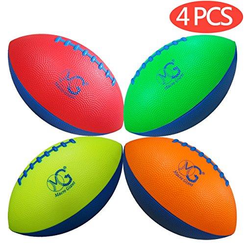 Macro Giant 9 Inch Safe Mini Soft Foam Training Practice Football, Set of 4, Playground Ball, Kid Sports Toys, Neon Colors, Kickball, Backyard, Beach, School Playground, Kid Toy, Beginner (Foam Soft Football)