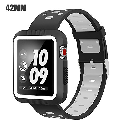 EloBeth Compatible Apple Watch Band 42mm with Case, Shock-Resistant Protective Case Soft Silicone Sport Strap iWatch Band for Apple Watch Band Series 3/2/1 Nike+ Sport Edition(Black/Gray, 42mm)