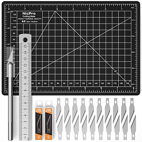 Nicpro Craft Exacto Knife & Blades SK5 with A5 Cutting Mat 6 x 8 Small Double Sided, Hobby Knife Kit Cutting Board, Rulers for Carving Craft and Art
