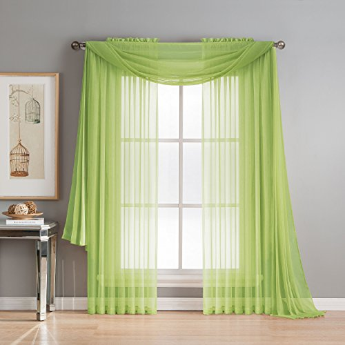 Window Elements Diamond Sheer Voile 56 x 216 in. Curtain Scarf, Lime