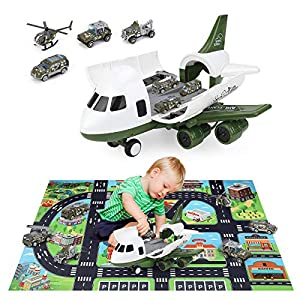 Best Epic Trends 51gqxWkjkNL._SS300_ Airplane Toy, Larger Cargo for Toddlers, INKPOT Friction Powered Military Vehicle Car Set, STEM Learning Play Mat, 7 pcs…
