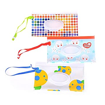 MAYATOWN 2pcs Wet Wipe Pouch Travel Wipes Case Reusable Refillable Wet Wipe Bag Cases Portable Travel Wipes Dispenser Wipe Pouches for Baby