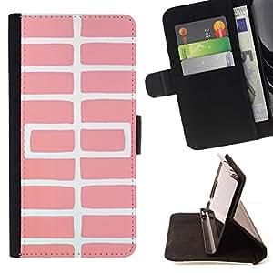 For Samsung Galaxy A5 ( A5000 ) 2014 Version Case , Modelo blanco trelli Peach Líneas- la tarjeta de Crédito Slots PU Funda de cuero Monedero caso cubierta de piel